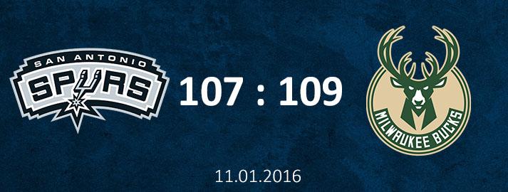 11.01.2016 San Antonio Spurs vs Milwaukee Bucks spēles apskats