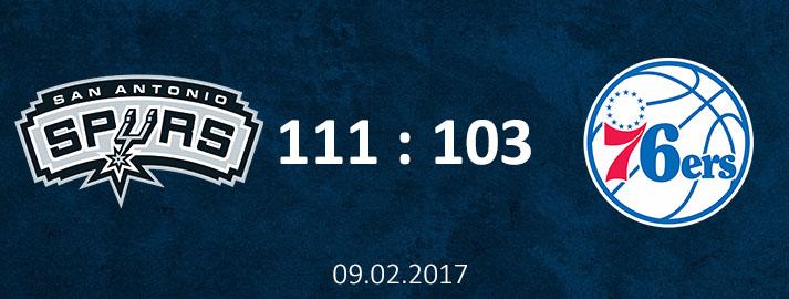 09.02.2017 San Antonio Spurs Dāvja Bertāna spilgtākie momenti pret Filadelfijas 76ers spēles apskats