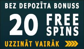 20 FREE SPINS bonuss bez depozīta maksas