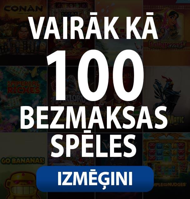 tiek piedāvāts bezmaksas spēles vairāk kā 100 free spins