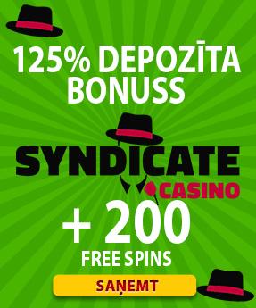 syndicate kazino bonuss ar 200 bezmaksas griezieniem free spins