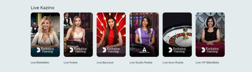 Laimz interneta kazino LIVE KAZINO lobija bilde