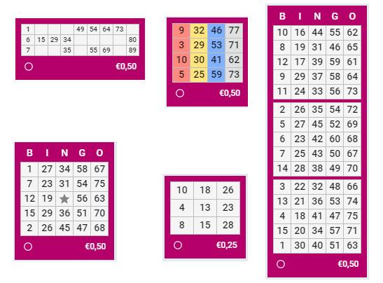 bingo kartīšu formas piemēri